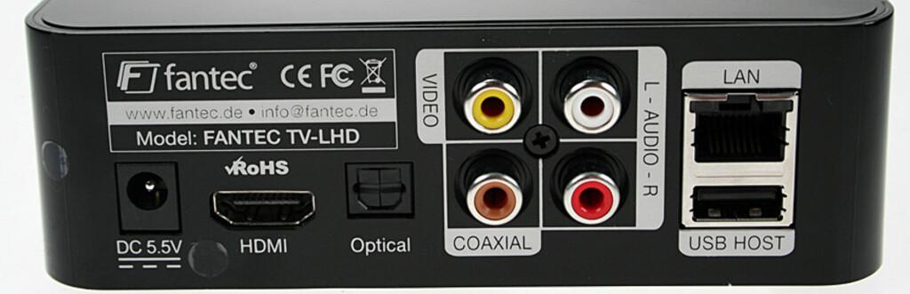 ALT HAR EN BAKSIDE: Fantec TV-LHD har alle de nødvendige tilkoblingspunktene.