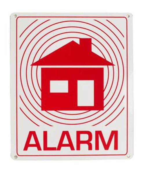 <strong>Alarmskilt fra Clas Ohlson:</strong> 69 kroner. Foto: Forhandler