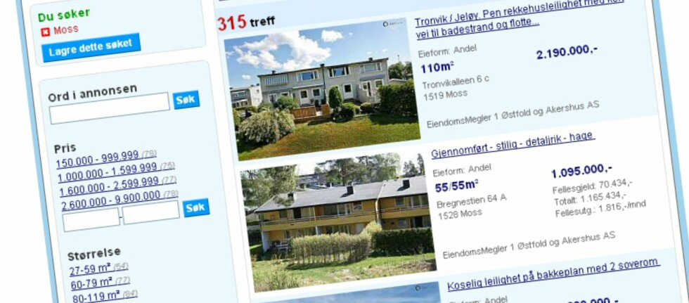 Til tross for at begge disse annonser er for boliger i borettslag, er det kun den nederste som har med opplysninger om fellesutgifter og totalpris. Foto: Finn.no