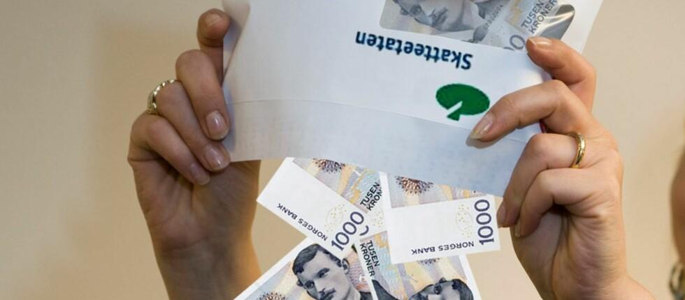 Skattepengene kommer selvsagt inn på konto, ikke i en konvolutt fra Skatteetaten. Foto: Per Ervland