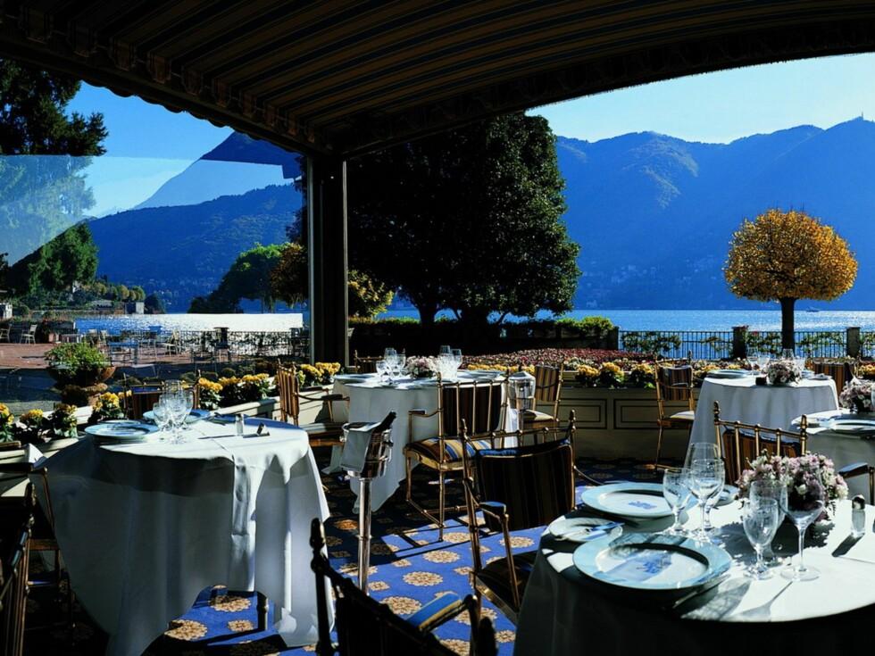 På Veranda restaurant nytter det ikke å komme og spise uten slips og dressjakke. Foto: Villa d'Este