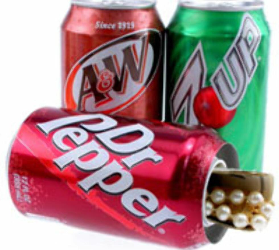 Sikkerhetsfokuserte nettbutikker, gjerne amerikanske, har utallige varianter av skjulte safer i flasker, bokser og kanner. Her noen brus-varianter, som koster 9,95 doller, cirka 63 kroner før gebyrer. Foto: TBO-Tech