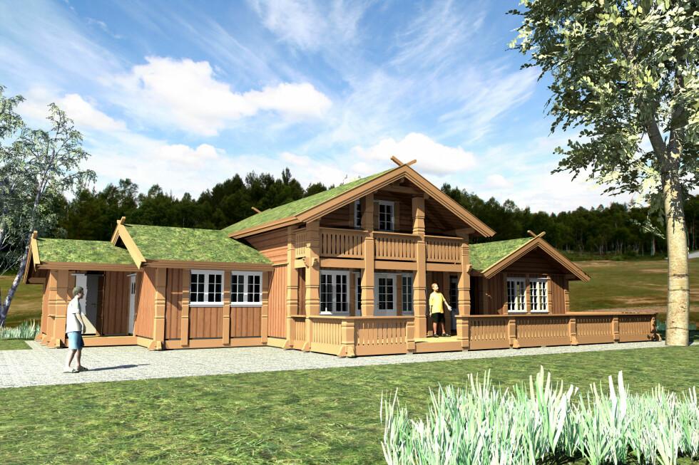 Hafjell heter denne hyttemodellen fra Eikås hytter: Også en av bestselgerne innenfor fjellhyttesjangeren. Foto: Produsenten