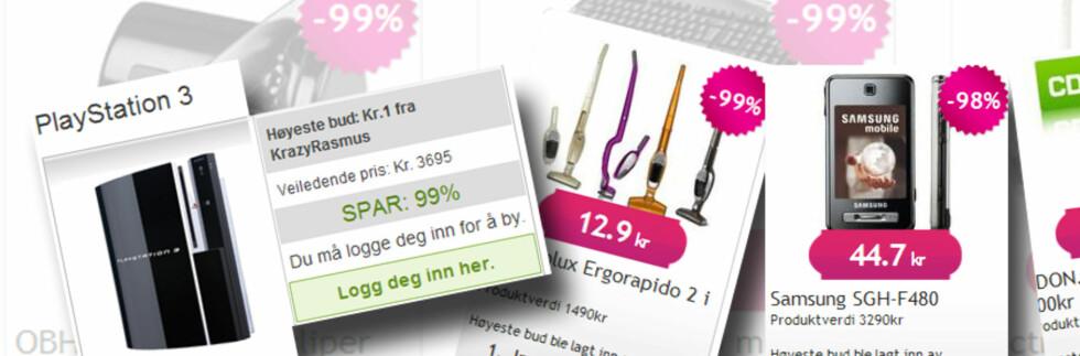 <strong> Foto:</strong> Montasje av skjermbilder fra Mr123.com og En-krone.com