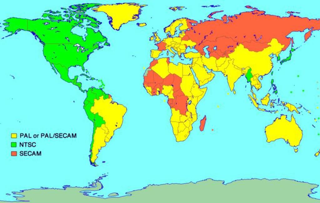 Kartet viser utbredelsen av de tre systemene Foto: Wikipedia