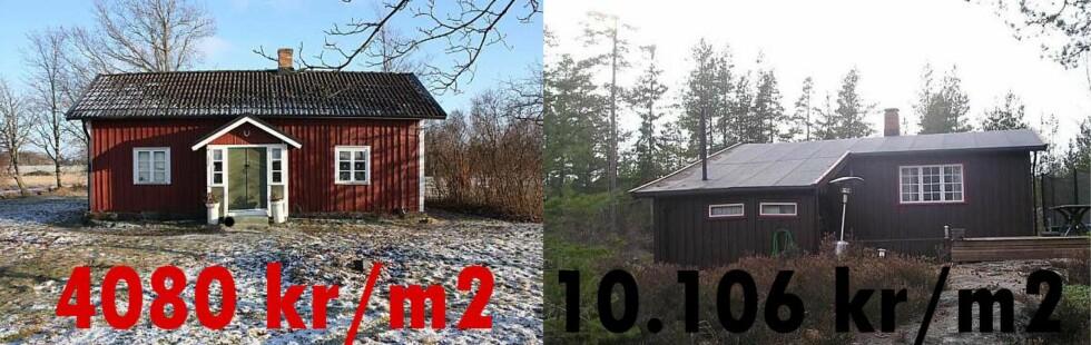 Svensk hytte til venstre, norsk til høyre. Begge hyttene ligger i de sørlige grenseområdene, i Østfold og over grensen.