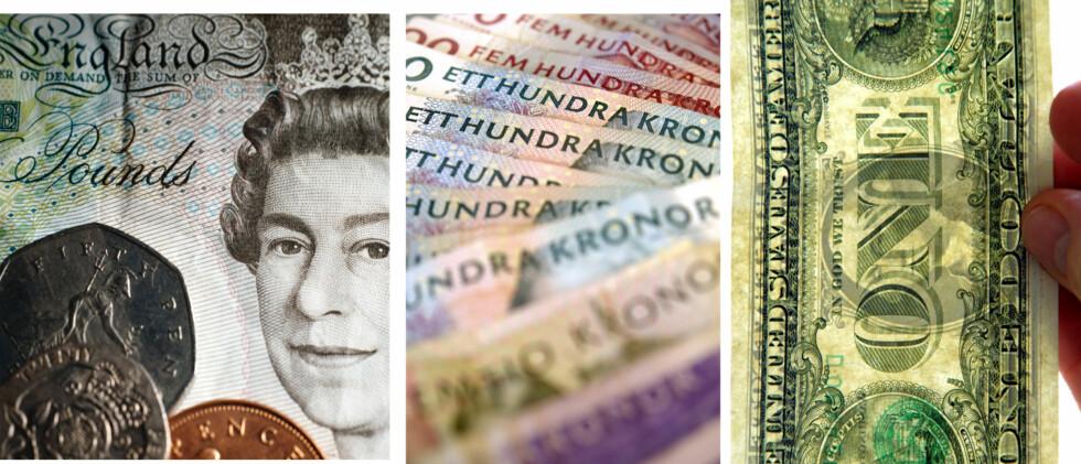 Britiske pund, svenske kroner og amerikanske dollar er billigere nå enn de har vært i snitt på 2000-tallet. Foto: Colourbox.com / Montasje: DinSide