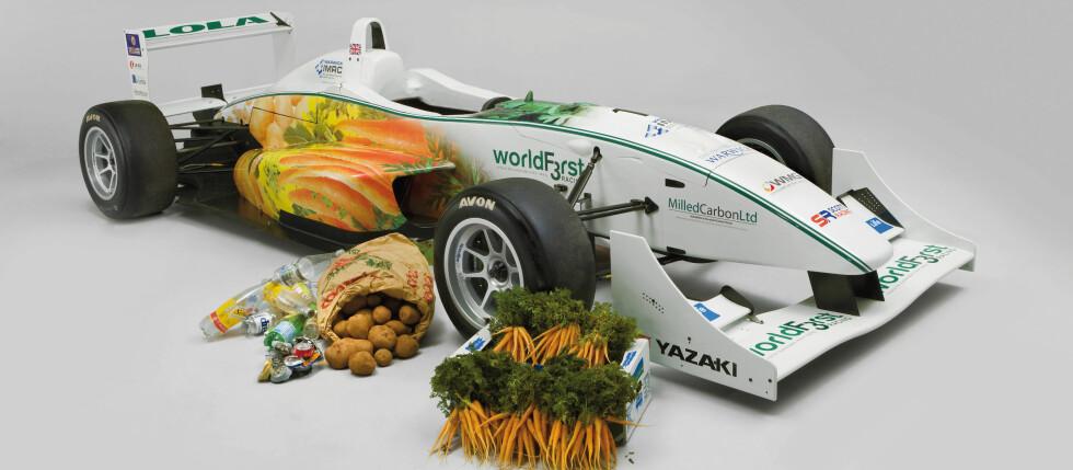 Ratt av gulrøtter, karosseri av poteter og sete av soyabønner ... Men den kan ta svingene i 200 km/t likevel ... Foto: WIMRC
