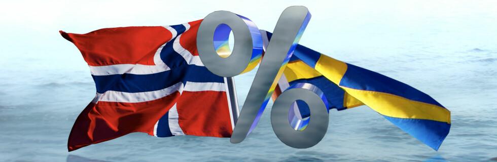 Det norske flagget vaier foreløpig litt kraftigere enn det svenske. Foto: Per Ervland