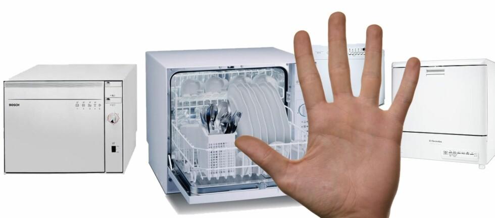 Benkeoppvaskmaskinene som ble testet, skåret så dårlig at du bør vurdere å skvise inn en modell i benken. Montasje: DinSide Foto: Produsentene/Colourbox.com