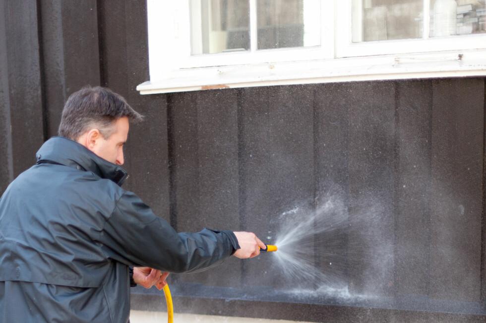Vask og skyll (men ikke med høytrykksspyler på fullt trykk!) boligen minst én gang i året for å unnga soppangrep. Og du kan godt bruke oppvaskmiddel. Foto: Kristian Owren / Ifi.no