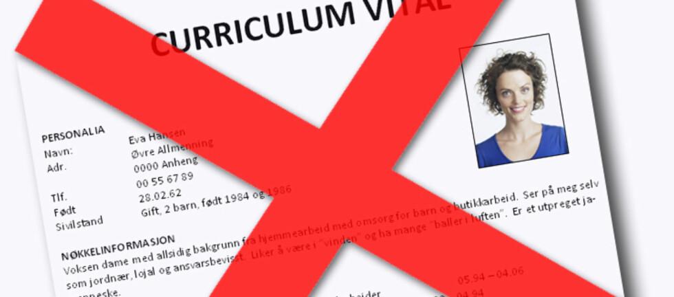 Unngå at CV-en blir for anonym. Fortell hva du kan og hva du vil. Karriererådgiver Emmali Schürch anbefaler alle å ta med et nøytralt bilde på CV-en.