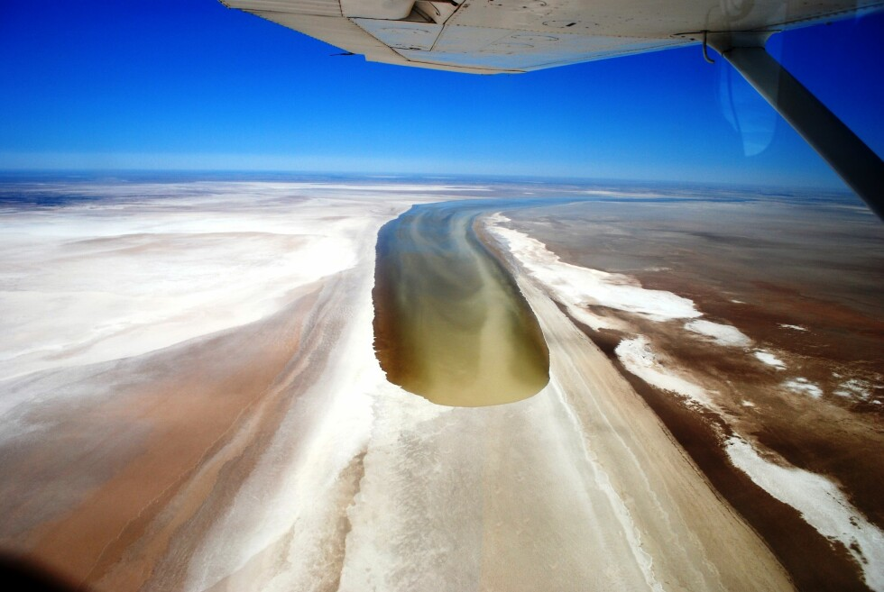 Flomvannet er på vei inn i saltørkenen Lake Eyre. Foto: Australiareiser.no