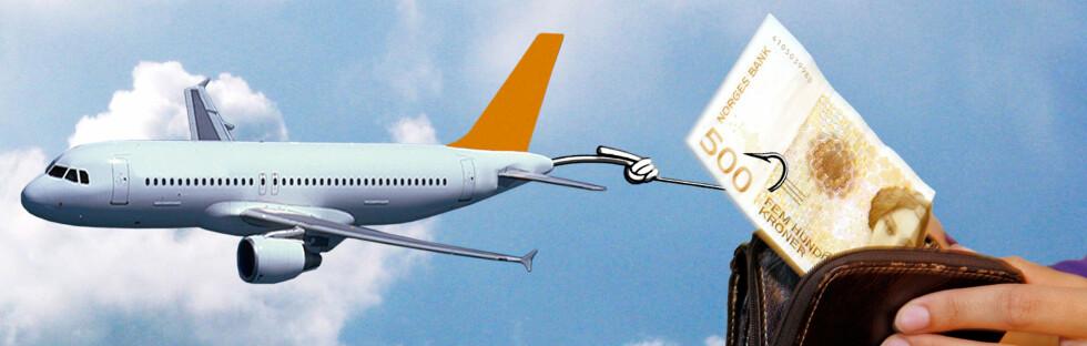 Legg til en koffert, setereservasjon og betalingsgebyr - så har flyselskapet fått flere lapper på kroken ... Foto: Per Ervland