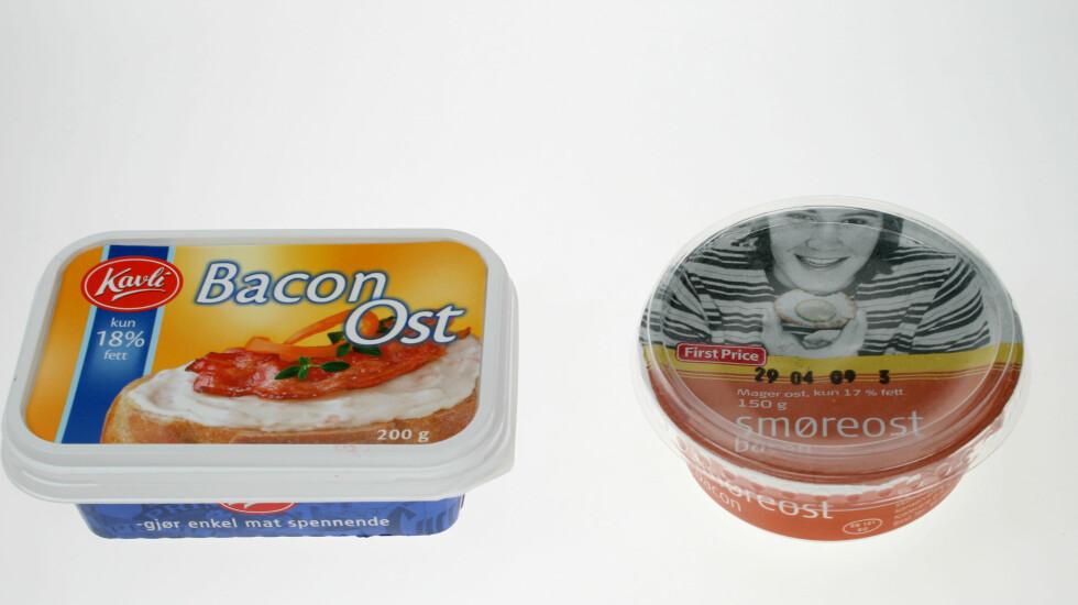 Kavli til høyre, First Price til venstre. First Prices baconost er like vond som innpakningen er stygg. Foto: Hanne Marie Aabel