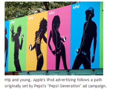 Denne iPod-kampanjen blir brukt som et kroneksempel på suksess fordi folk vil være som andre. (Faksimile: Stevekrause.org)