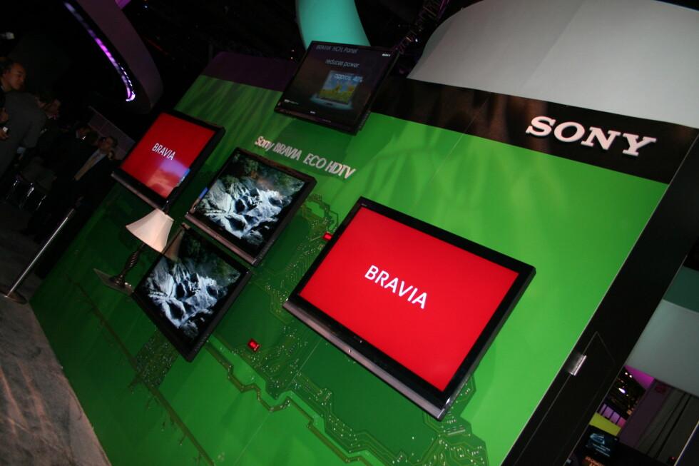 Sonys miljøvennlige flatTVer ble vist frem på CES-messen i Las Vegas i januar. Foto: Øyvind Paulsen