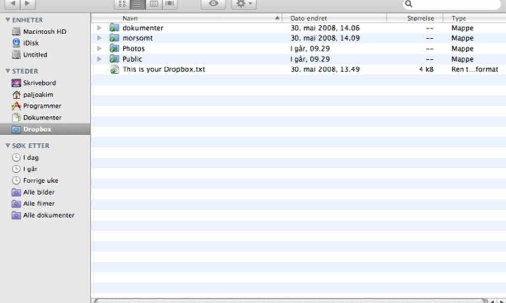 Slik integreres Dropbox i MacOS og Finder.