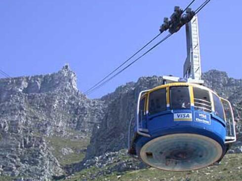 Et av stedene du kan stemme på er Table Mountain i Cape Town. Her et bilde av taubanen som du kan ta opp til utsiktspunktet på toppen. Foto: Karoline Brubæk