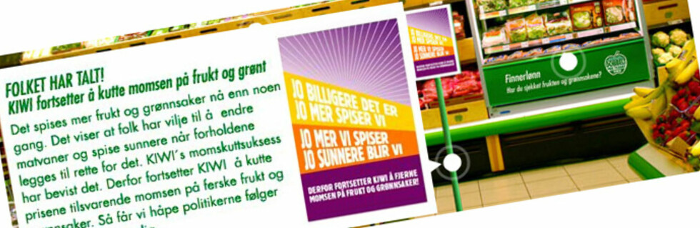 Slik ser Kiwis frukt- og grøntkampanje ut nå. Foto: Faksimile: Kiwi.no
