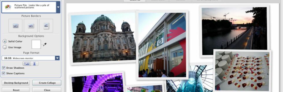 Eksempel på hvordan du lager collage - bildene kan dras, roteres, endres i størrelse og utforming.
