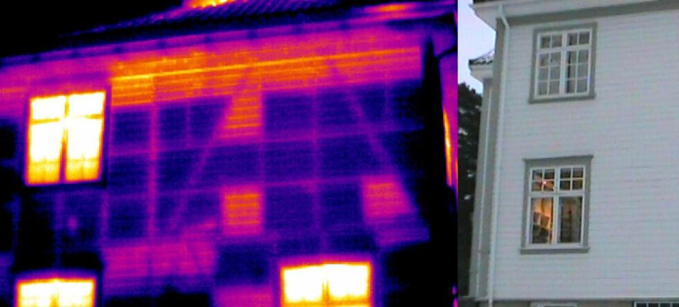 Kuldebroer, luftlekkasjer og fuktskader kan avsløres med termografering. Her er et termografi og et foto av samme hus. De lyse feltene på termografiet viser de høyeste temperaturene. Foto: Enova