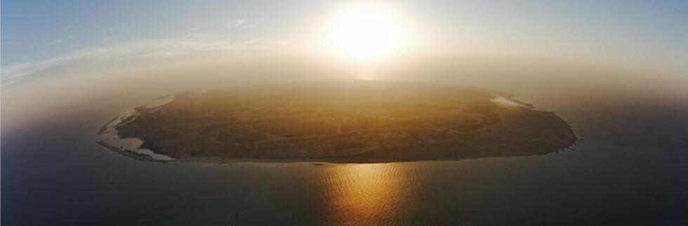 Denne golde øya, Sir Bani Yas, skal bli en oase full av dyreliv. Foto: Desert Island
