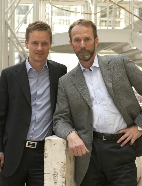 Bjørn Roger Wilhelmsen og Harald Magnus Andreassen i First Securities. Foto: First Securities
