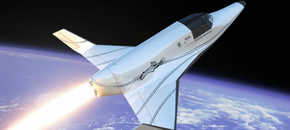 Prislappen for en tur til rommet i denne romfergen er cirka 700.000 kroner. Illustrasjon: XCOR Aerospace