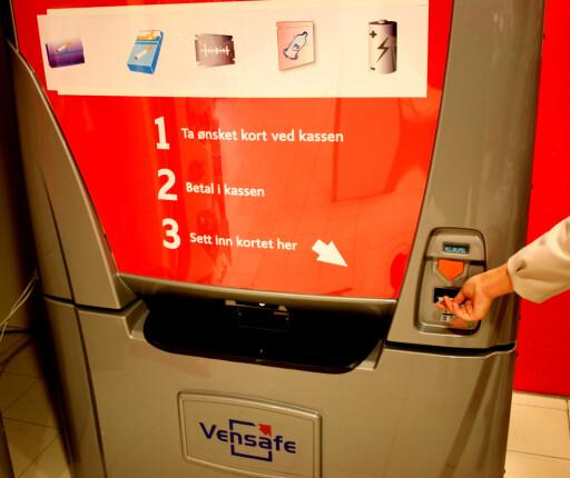 Vensafe-automatene finnes i mange butikker rundt om i landet. Automatene skal ifølge produsenten sikre butikkene mot tyveri av varer som ofte blir stjålet. Foto: Kenneth Larsen