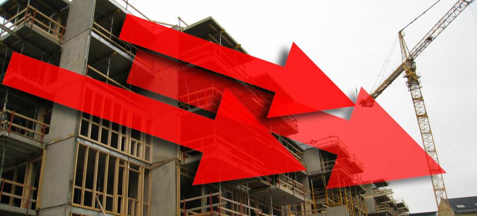 Det er ikke så mye annet enn røde piler i boligmarkedet for tiden. (Foto og illustrasjon: Kim Jansson) Foto: Colourbox/DinSide