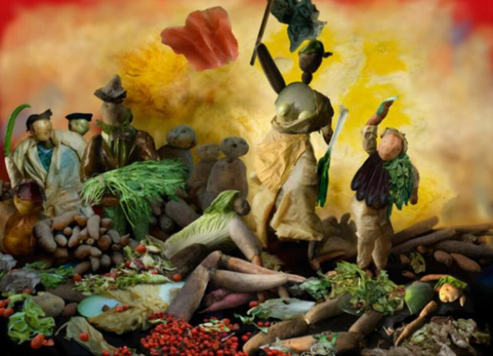 """""""Liberty leading the vegetables"""", en parodi på """"Liberty Leading the People"""" av  Eugene Delacroix. Foto: Artnet.com"""