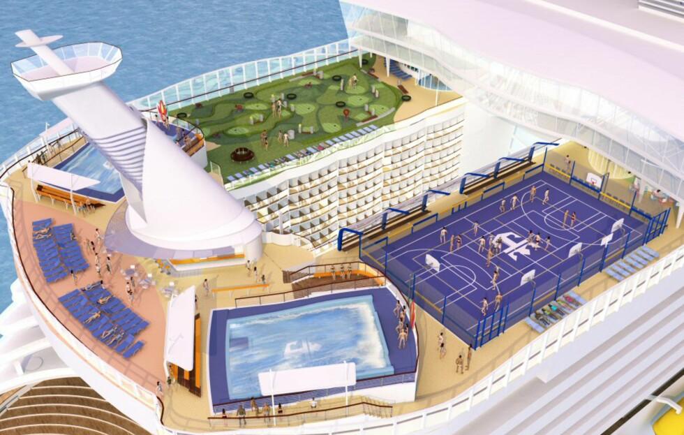 Sportsdekket for dem som vil ha en aktiv cruiseferie. Foto: RCCL