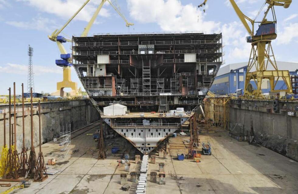 Skipet begynner å ta form. Foto: RCCL