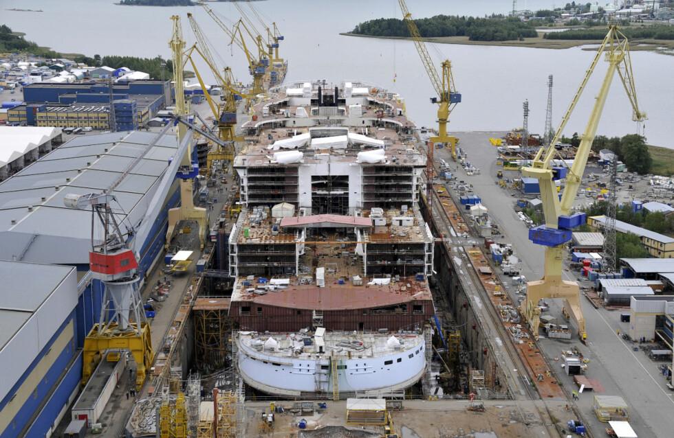 I september i år har byggingen kommet mye lenger. Foto: RCCL
