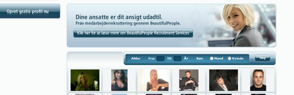 Da vakre rangerest øverst av dette rekrutteringsselskapet. Foto: Faksmile: Beautifulpeople.com