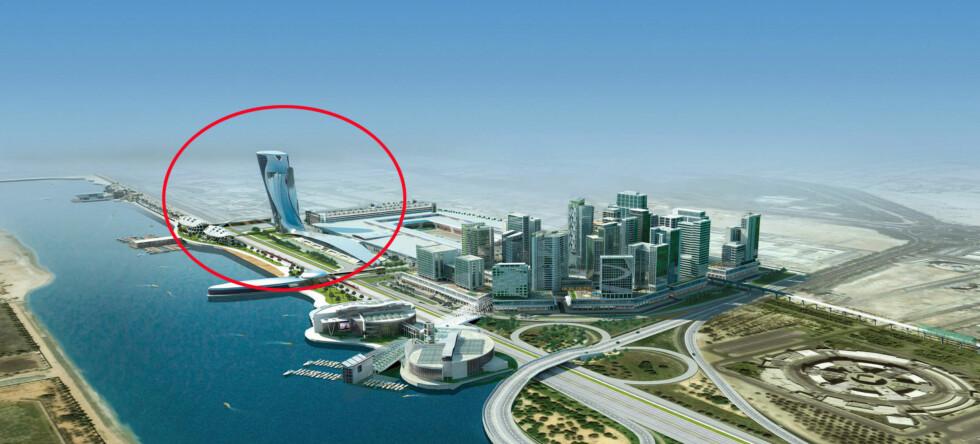 Slik vil den uvanlige bygningen se ut når den er ferdig om litt over ett år. Illustrasjonsfoto: Abu Dhabi National Exhibitions Company