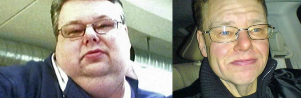 På under ett år har Per Ivar Pedersen fra Tromsø halvert seg selv. Bildet til venstre er tatt da han startet treningen for ett år siden. Bildet til høyre er tatt nylig og viser hvordan 44-åringen ser ut i dag, 86 kilo lettere.   Foto: Privat