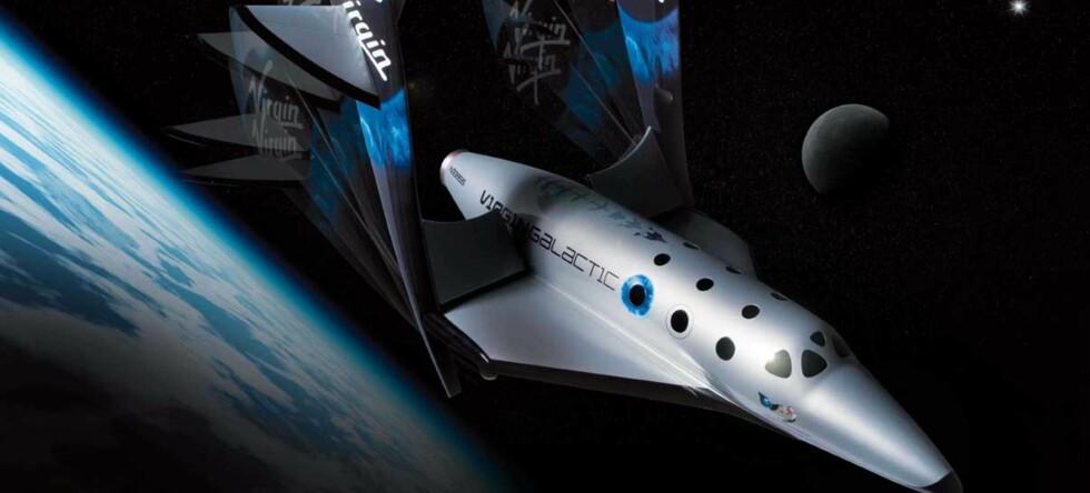 Etter planen skal romfartøyet (se bilde) til Virgin Galactic transportere romturister allerede i 2009, mens i 2015 vil man kunne fly til en del av kloden til en annen via verdensrommet, mener ekspert. Illustrasjonsfoto: Virgin Galactic