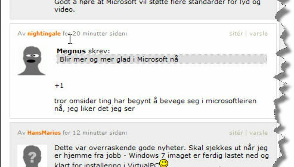 I debattfora på nettet er det sjelden Microsoft opplever så mye skryt som i disse dager. (Her fra ITavisen)