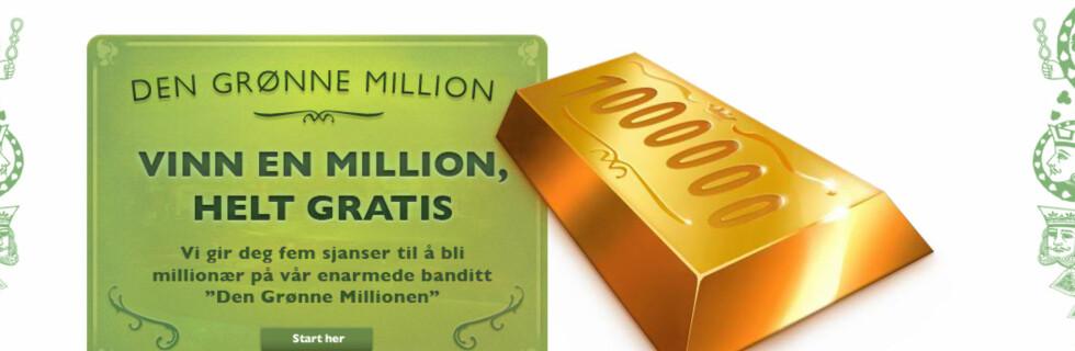 Du har fem gratis sjanser til å skaffe deg millionen gratis, men deretter koster det fem kroner per spill. Foto: Faksimile: Mr. Green