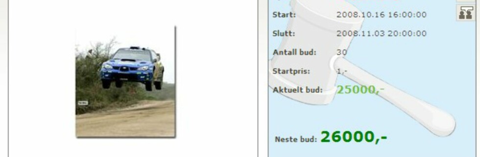 Turen med Petter Solberg er bare noe av det som auksjoneres bort på PS.no (Faksimile: PS.no)