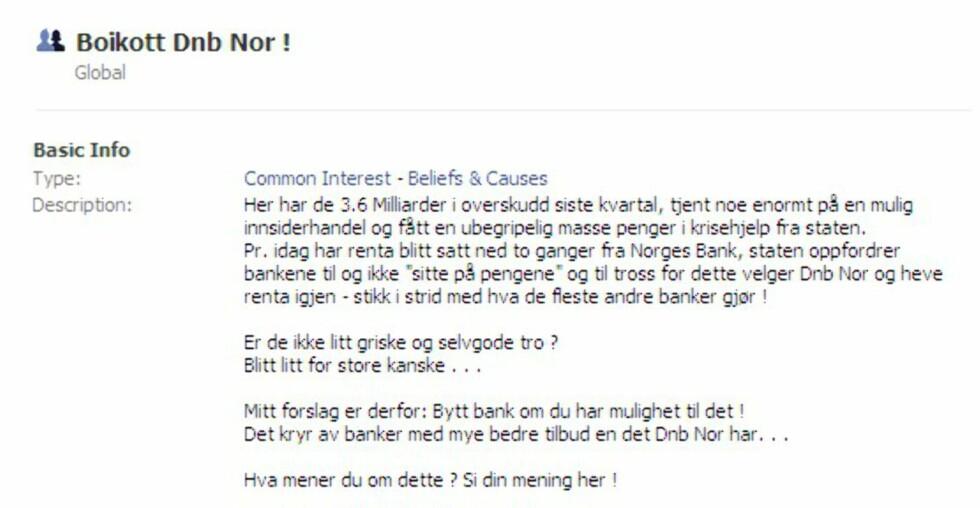 Eksempel på protestaksjon på Facebook. (Faksimile: Facebook.com)