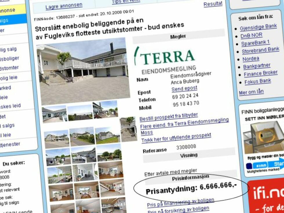 Prisen på boligen er iallefall lett å huske. Tilfeldig? Neppe. Foto: Finn.no
