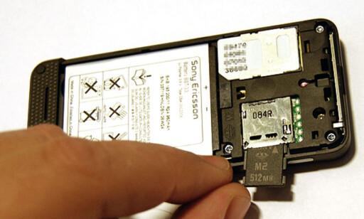 Minnekortet er av typen MemoryStick M2, og kapasiteten er 512 MB.