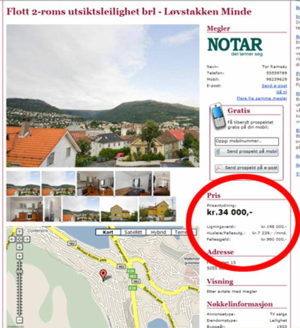 Dette er en billig billett inn i boligmarkedet, skriver megleren om det som er rundens billigste. 2 rom på Løvstakken i Bergen selges for 34.000 kroner. Fellesgjelden er på 980.000 kroner. Faksimile fra Tinde.no.