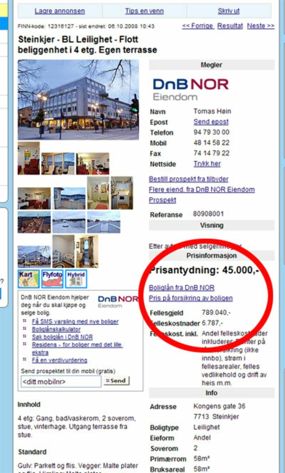 Nest billigst nå er en leilighet med terrasse i Steinkjer. 45.000 kroner er prisen, og 789.040 kroner er fellesgjelden. Faksimile fra Finn.no.