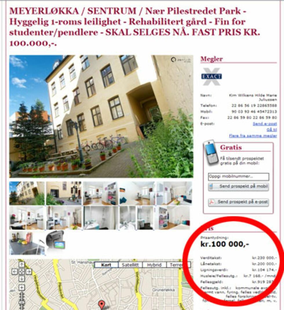 Sentralt i Oslo ligger Meyerløkka, der denne ettromsleiligheten selges for 100.000. Fellesgjelden er på 919.287 kroner.  Foto: Tinde.no