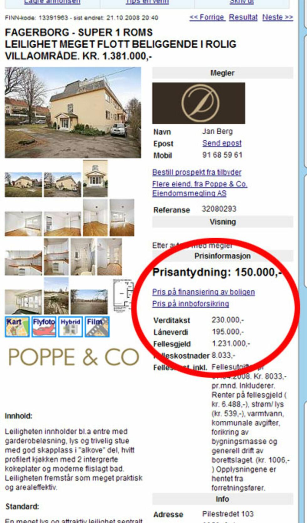 Denne boligen på Fagerborg i Oslo blir din for 150.000, taksten sier 230.000, og fellesgjelden er på 1.231.000 kroner.Faksimile fra Finn.no