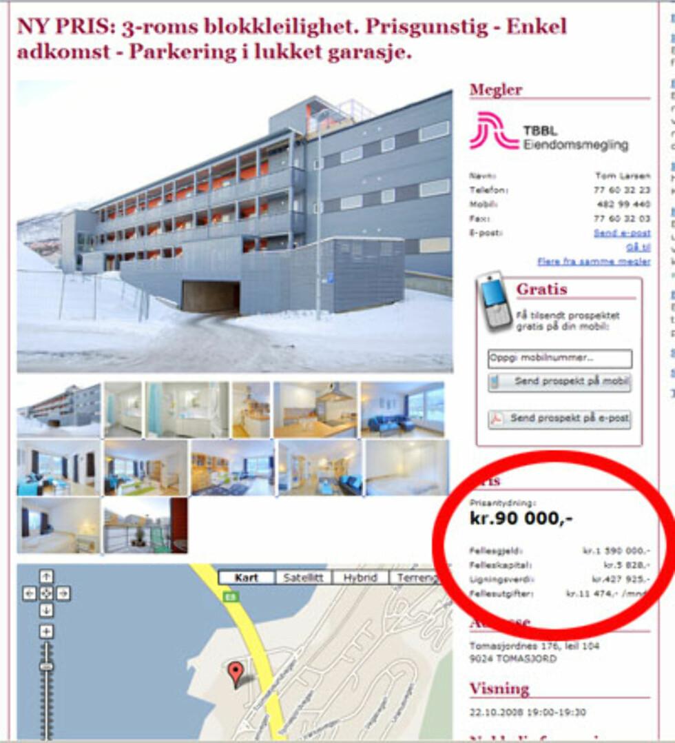Boligmarkedet i Tromsø blir av enkelte beskrevet som en katastrofe. I dette borettslaget i Tomasjord får du tre rom og lukket parkering for 90.000 kroner. Fellesgjelden er på 1.590.000. Faksimile fra Tinde.no.